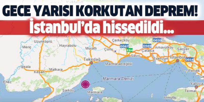 Marmara Denizi'nde 4.1 Büyüklüğünde Deprem
